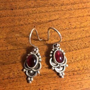 Amethyst sterling vintage pierced earrings